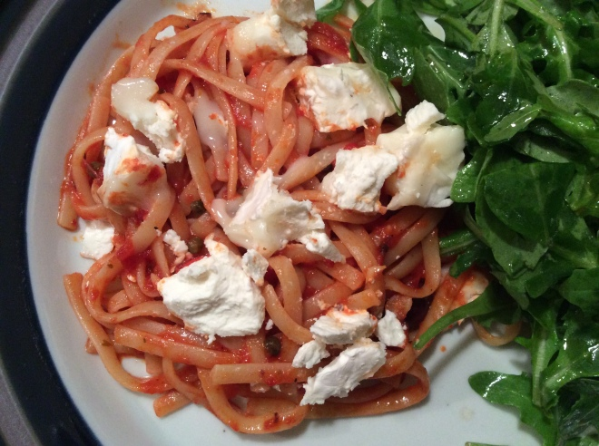 Pasta Puttanesca with Goat cheese
