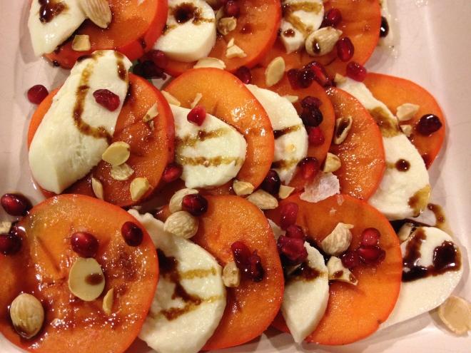 persimmon salad with mozzarella