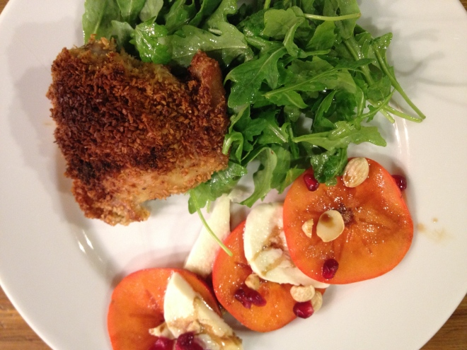 Coconut crusted chicken with persimmon caprese