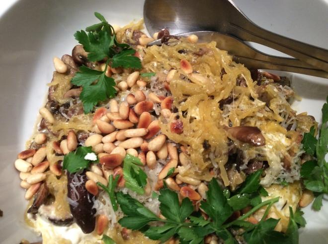 Spagetti squash with mushrooms and pesto