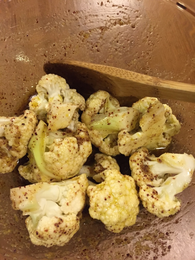 Cauliflower coated with Sumac, lemon and cumin