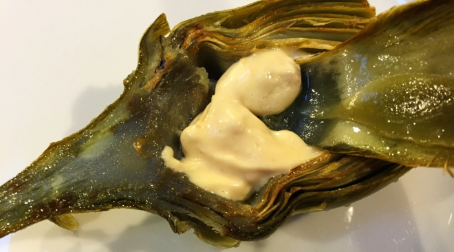 Grilled Artichoke with Preserved Lemon Manyonnaise