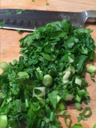 chopped scallions and parsley