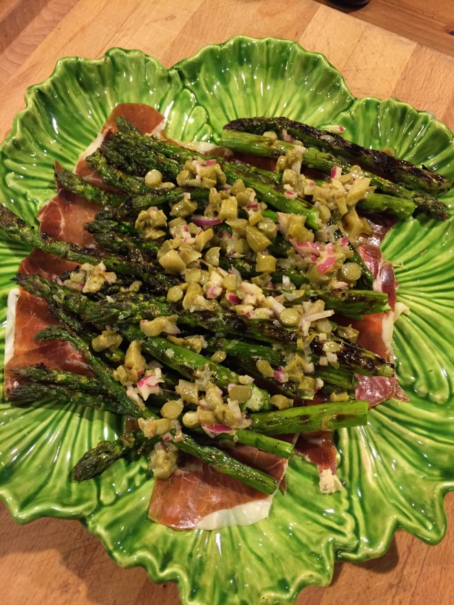 Grilled Asparagus with Proscuitto and Pickled Asparagus