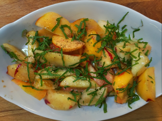 Green Peach Salad with Mint