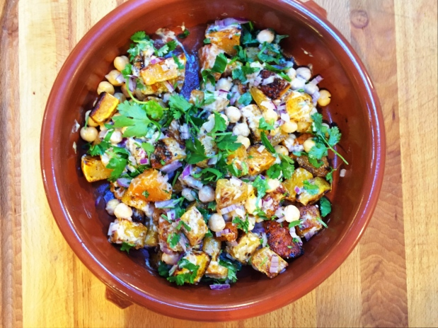 June in the Kitchen – Warm Squash and Garbanzo Bean Salad with Tahini Dressing