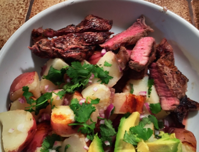 Grilled Rib Eye Steaks with Hobo Potatoes and Pickled Chiles