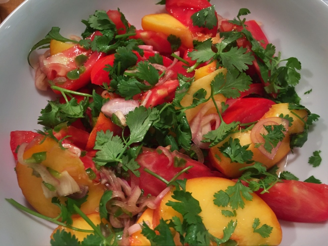 Tomato/Peach Salad with Herbs
