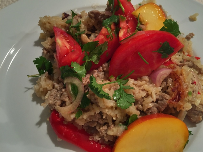 Thai Turkey with Rice and Tomato/Peach salad