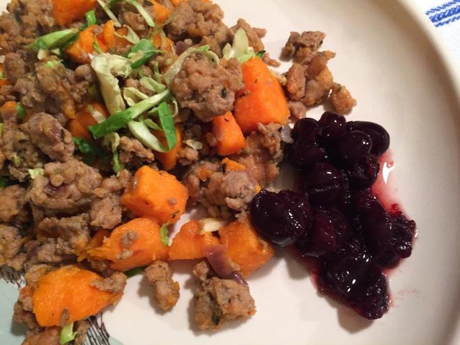 Ground Turkey Sweet Potato Skillet with Cranberry Aigre-Doux