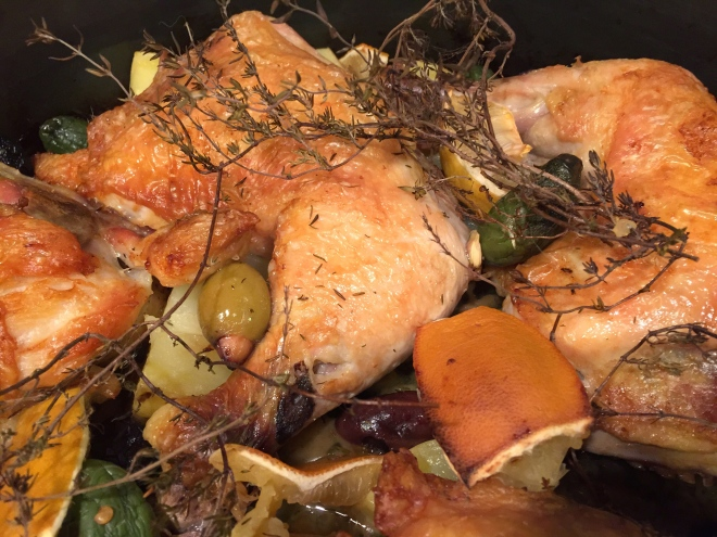 One Pan Chicken with Olives, Potatoes, and Lemon
