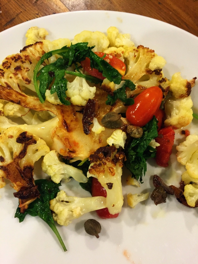 Pan Roasted Cauliflower Steaks with Tomatoes and Capers