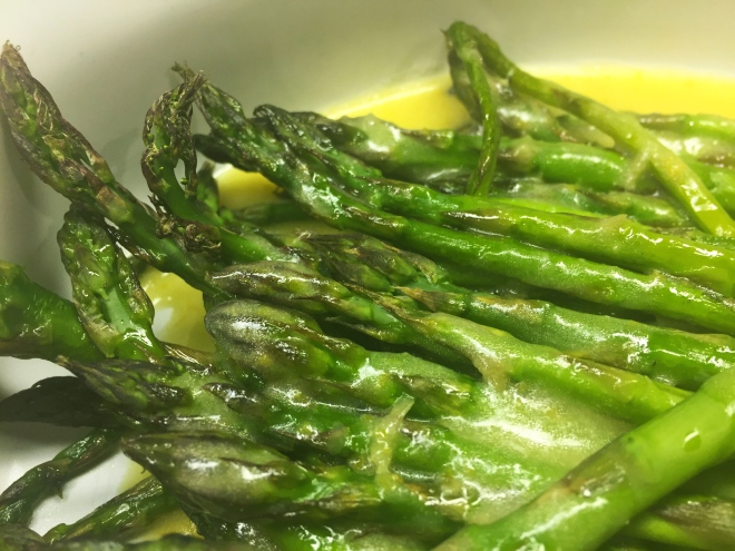 Grilled asparagus with Meyer lemon aigre-doux vinaigrette