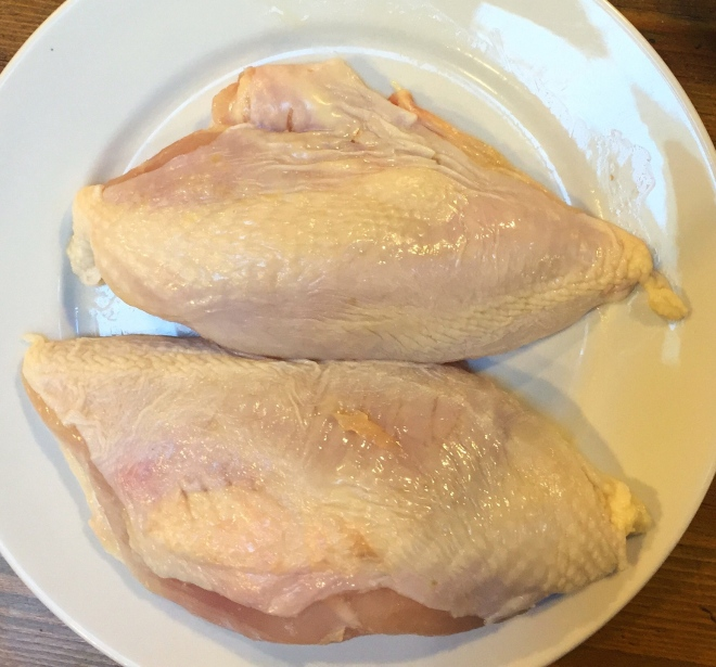 boned chicken breasts with skin