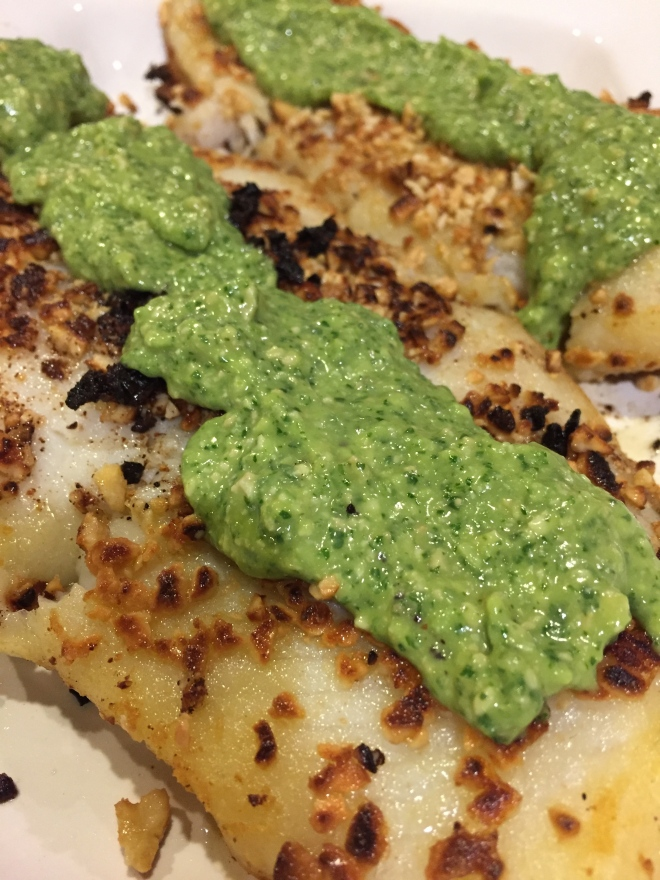 Sauteed Basa with Magic Green Sauce