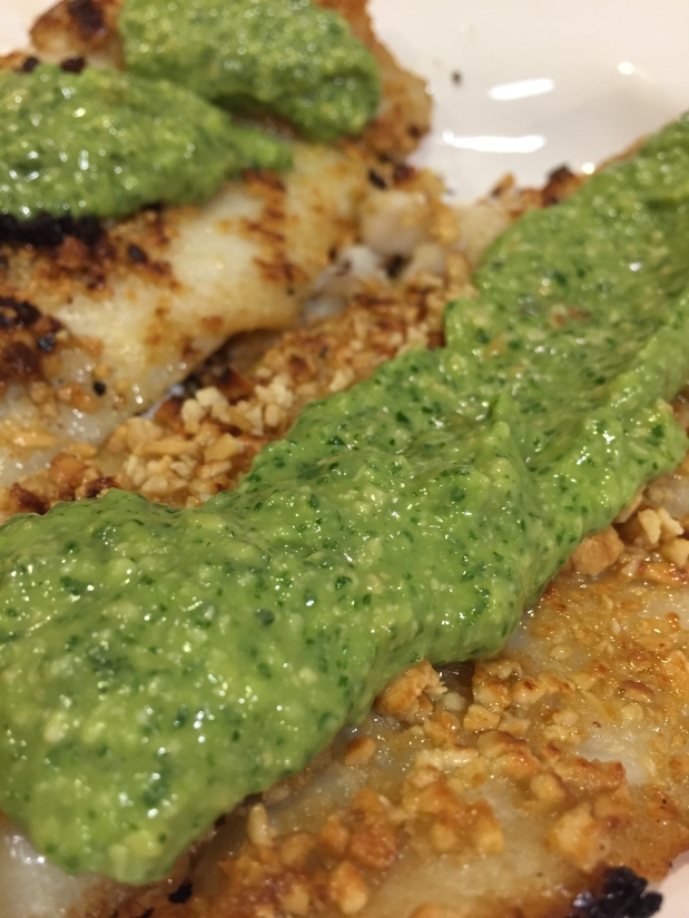 February – White Fish with Magic Green Sauce